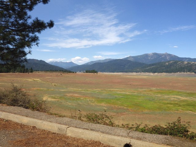 Trinity Lake, near Weaverville, California is proof that things are dry in the west. If you look carefully you can see there is actually a little water in it!