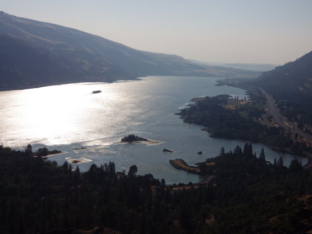 The Columbia River Gorge upstream of Portland is spectacular at any time, but is haunting in early morning light. The area to the extreme right of the photo was burned in a large wildfire last week.