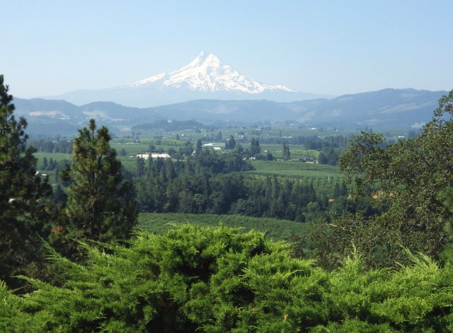 Mt. Hood overlooks the scenic and green Hood River Valley. It's hard to believe this lush scene is less than than twenty miles from the brown, arid shores of the real Spearfish Lake.