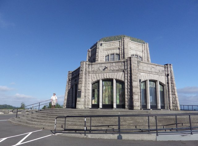 Vista House overlooks the Columbia River Valley near Portland, Oregon. It was built as a rest stop in 1918, and is much more lavish than any rest stops built today.