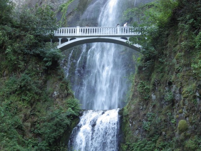 Multnomah Falls, near Corbett, Oregon, is the most scenic waterfall I've ever seen. Beware of crowds -- it's a top tourist attraction!