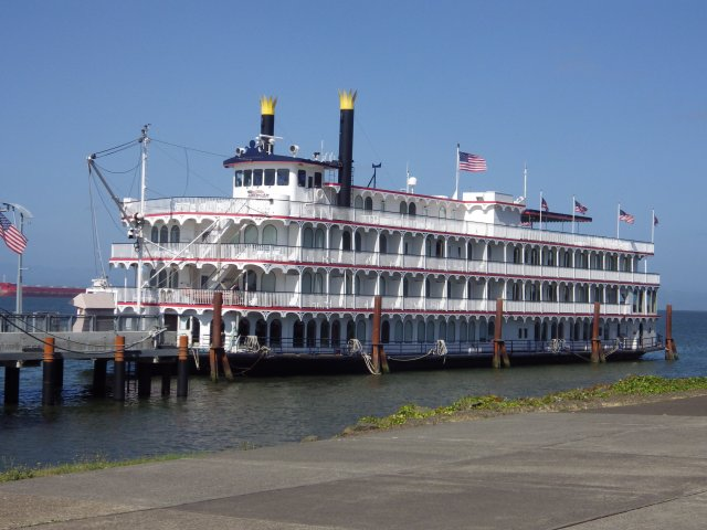 You don't usually think of Mississippi River style riverboats on the Columbia River -- but this one, actually built in 2005, was moored at the Maritime Museum in Astoria, OR.