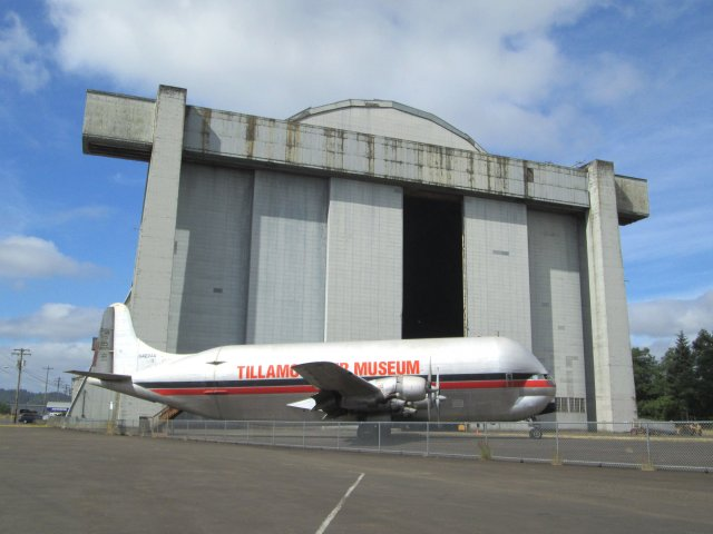 """This plane, a """"Pregnant Guppy"""" was used to haul rocket stages from California to Florida. Now it's parked in front of Oregon's Tillamook Air Museum, located in a huge blimp hanger from WWII."""