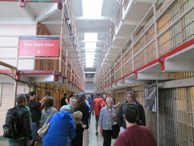 Alcatraz has become a major tourist attraction. The surprising thing is how small the cell blocks are considering the big reputation of the place, which closed as a prison over 40 years ago.