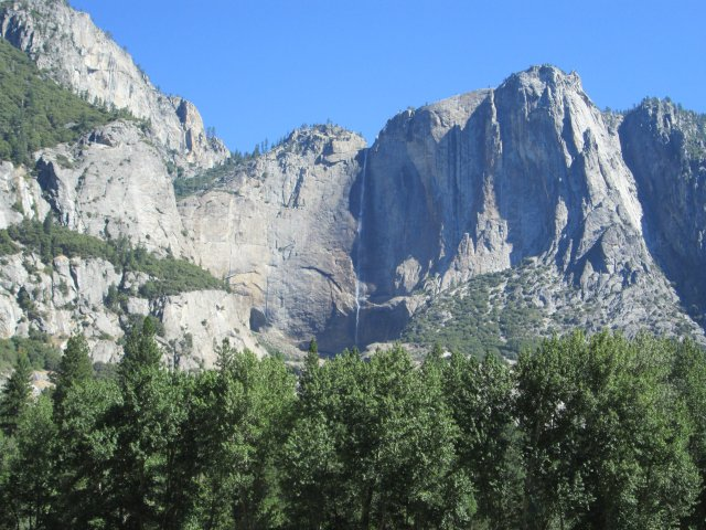 Yosemite Falls runs harder in the spring, but even with the drought in California it still manages a tall, thin trickle.