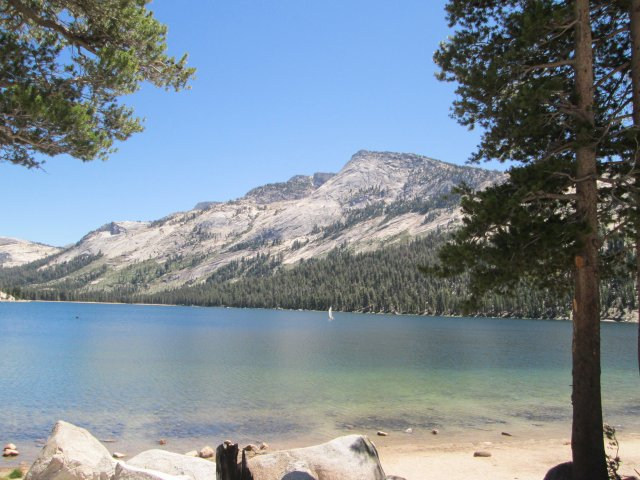 Someone is having a nice sail on Tenaya Lake, toward the east end of Tioga Pass Road in Yosemite National Park.