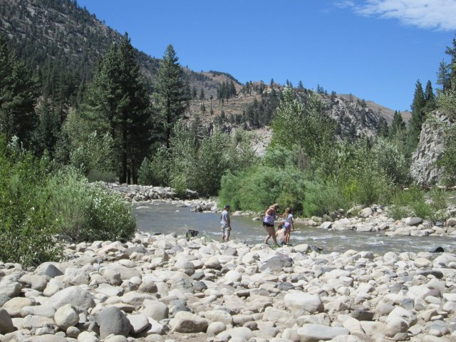 A nice, flowing stream like the Fremont River south of Minden, Nevada makes for a refreshing place for a family to take a break in the otherwise dry landscape.