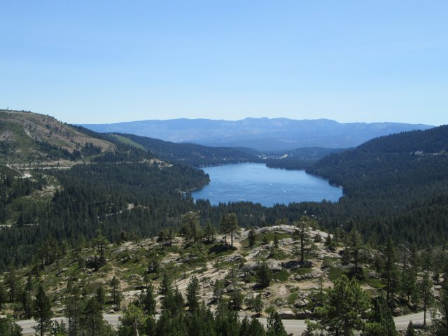 Donner Lake, California, from Donner Pass, named for a wagon train party that came to grief there in 1846.