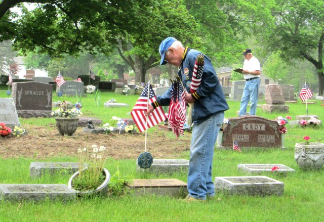 Setting up flags for Memorial Day